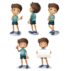 A young boy in different positions vector