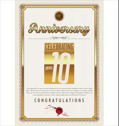 Anniversary background 10 years vector