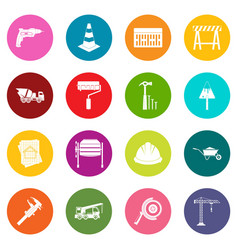architecture icons many colors set vector image