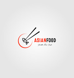 asian food logo fresh fish design vector image