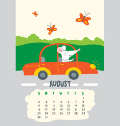 August calendar page with cute rat driving car vector