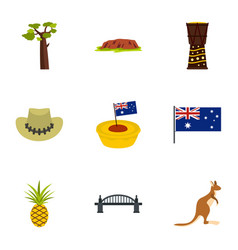 Australia travel icon set flat style vector
