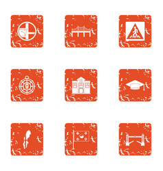 Avenue icons set grunge style vector