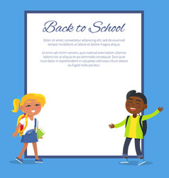 back to school poster with blonde girl indian boy vector image