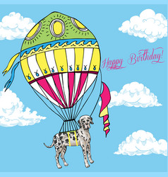 background with great dane and air balloon vector image