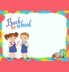Banner back to school boy girl pupil lettering vector