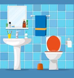 bathroom interior with toilet bowl vector image