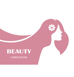 beauty female profile face silhouette with long ha vector image