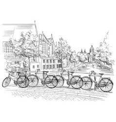 Bicycles on bridge over the canals of amsterdam vector