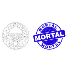 Blue scratched mortal seal and web carcass vector