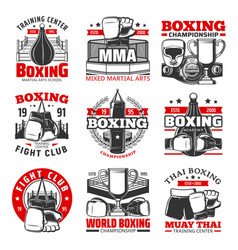 Boxing muay thai thailand kickboxing icons vector