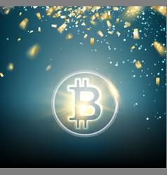 bright bitcoin symbol and golden confetti falls vector image