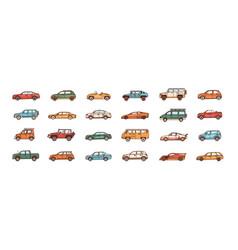 bundle cars different body configuration vector image