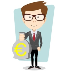 Businessman or banker with a bag of gold cash euro vector