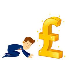 businessman worshipping money golden pound vector image