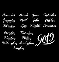 calligraphic set of months of the year 2019 and vector image