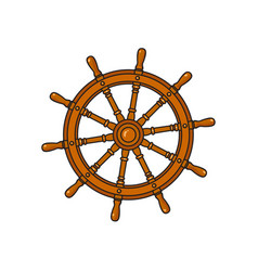 Cartoon ship sailboat steering wheel vector
