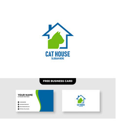 Cat house logo template free business card vector