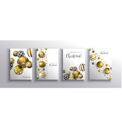 christmas new year gold 3d bauble ball card set vector image