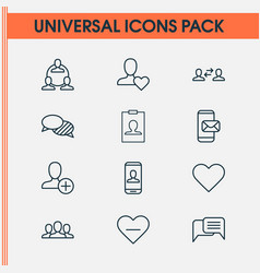 communication icons set with favorite vector image