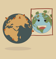 concept of world map earth globe vector image