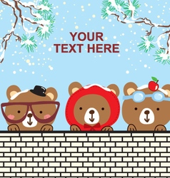 Cute bear in the snow christmas day vector