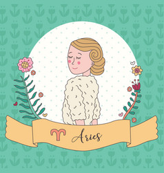 cute horoscope zodiac girl aries vector image