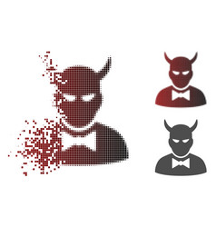 Damaged dot halftone devil icon vector