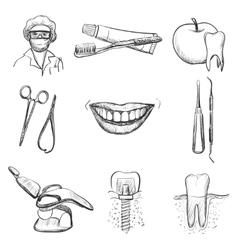 Dental icons reflection theme vector image