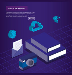 Digital technology isometrics icons vector