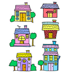 doodle of house set cartoon design vector image