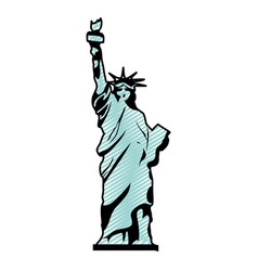 Doodle statue liberty sculpture history design vector