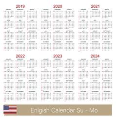 English calendar 2019 - 2024 vector