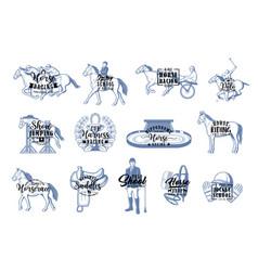 Equestrian sport icons jockey horse riding vector