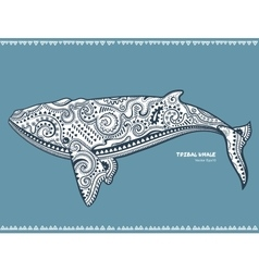 Ethnic Whale with tribal ornaments can be used as vector image