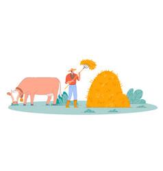 Farmer making farm hay isolated person vector
