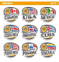 Flags american national basketball teams vector
