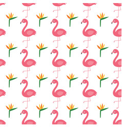 Flamingo and exotic flowers seamless vector