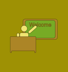 Flat icon thin lines table board teacher vector