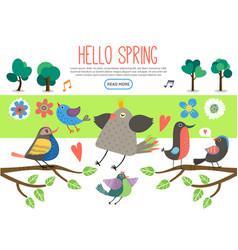 Flat spring elements collection vector