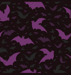flying purple halloween bats pattern vector image
