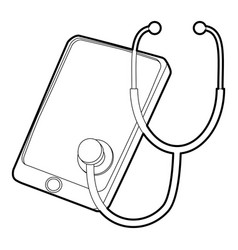 Gadget in diagnostic process icon outline style vector