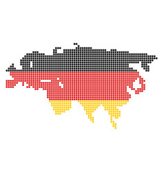 German colors dot europe and asia map vector