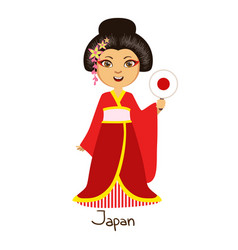 Girl in japan country national clothes wearing vector