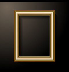 golden photo frame template home decoration and vector image