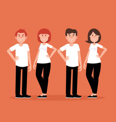 group couple people a happy concept man and vector image
