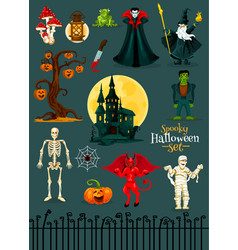 Halloween monster character horror holiday design vector