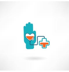 hand with heart blood transfusions in the vector image