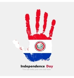 Handprint with the Flag of Paraguay in grunge vector