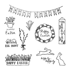 happy easter card with eggs rabbits flowers vector image